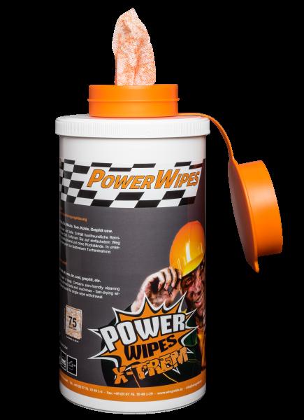 PowerWipes Xtrem Handreinigungstücher für Industrie 75 Blatt oranges Vlies (6 Rollen)
