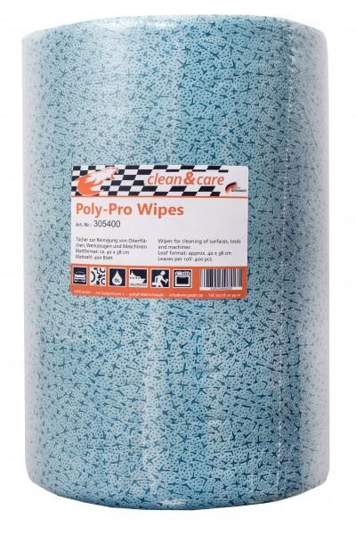 Clean&Care Poly-Pro Wipes Industrierolle Reinigungstücher blau 400 Blatt (1 Rolle)